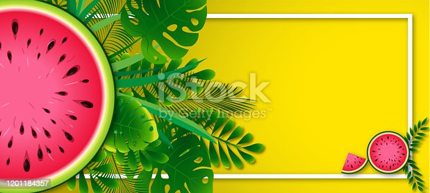 Super sale banner with gourmet food and watermelon background