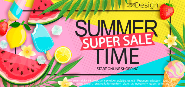 super sale banner with gourmet food. - summer stock illustrations