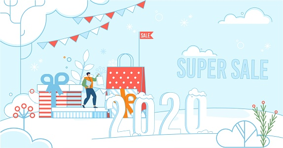 Super Sale during New Year Celebration Poster