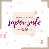 This Weekend Only Super Sale Up to %50 Off Retro Web Banner for Social Media