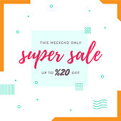 This Weekend Only Super Sale Up to %20 Off Retro Web Banner for Social Media