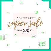This Weekend Only Super Sale Up to %70 Off Retro Web Banner for Social Media
