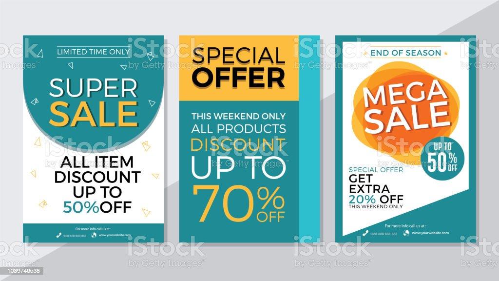 Super Sale Special Offer And Mega Sale Flyer Template Stock