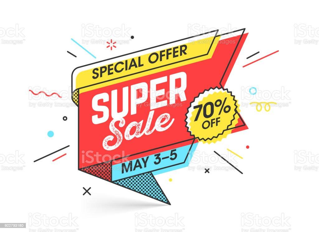 Super sale, special offer banner vector art illustration