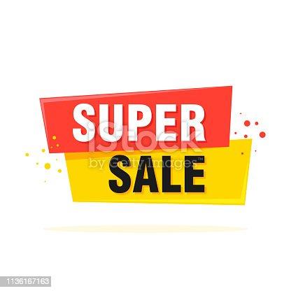 istock Super Sale, special offer banner - Vector illustration 1136167163