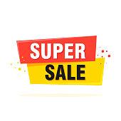 Super Sale, special offer label banner - Vector illustration