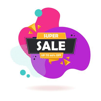 Super Sale Special Up To 60% Off. Super Sale Banner, Special Offer and Sale. Sale Banner Template Design Background.