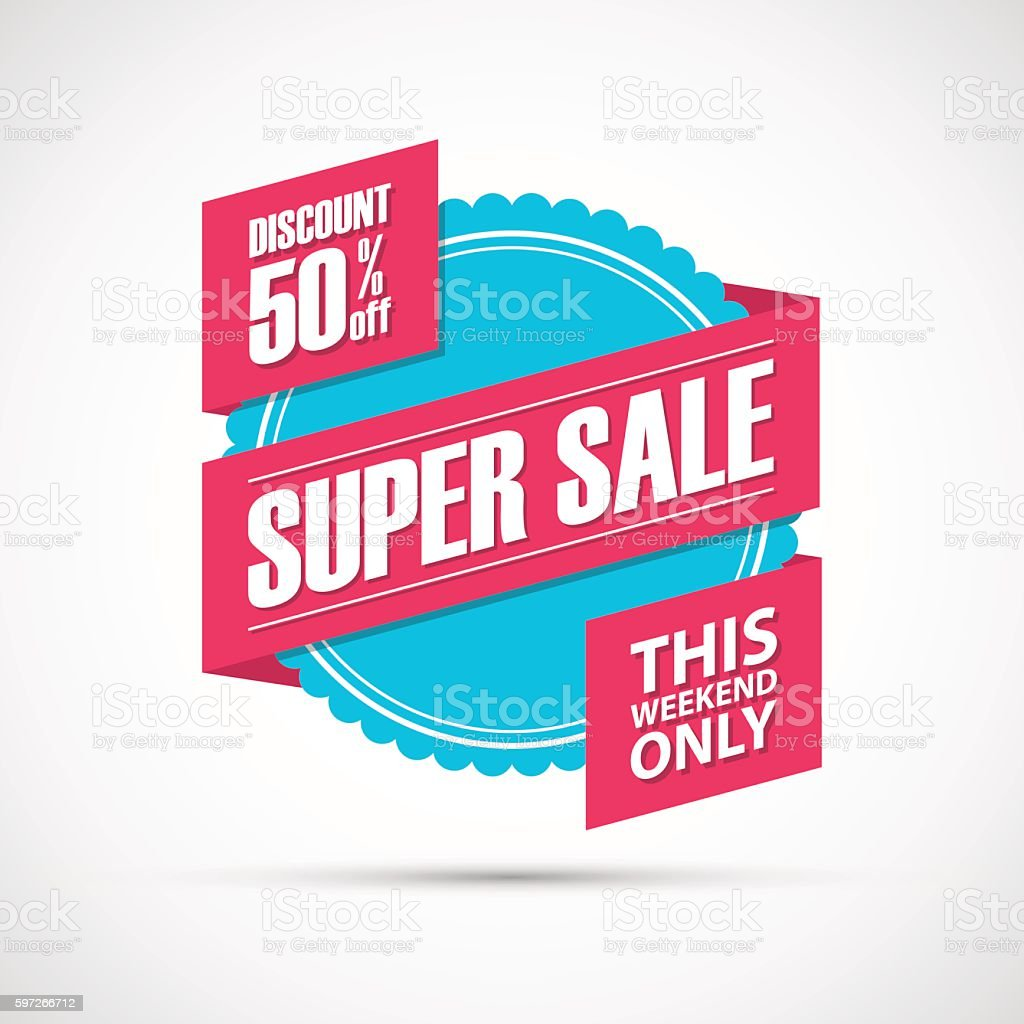 Super Sale, this weekend special offer banner, discount 50% off. super sale this weekend special offer banner discount 50 off – cliparts vectoriels et plus d'images de acheter libre de droits