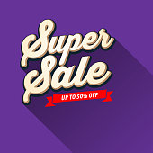 Vector of Super Sale up to 50% off banner design with purple color background.  This illustration is an EPS 10 file and contains transparency effects.