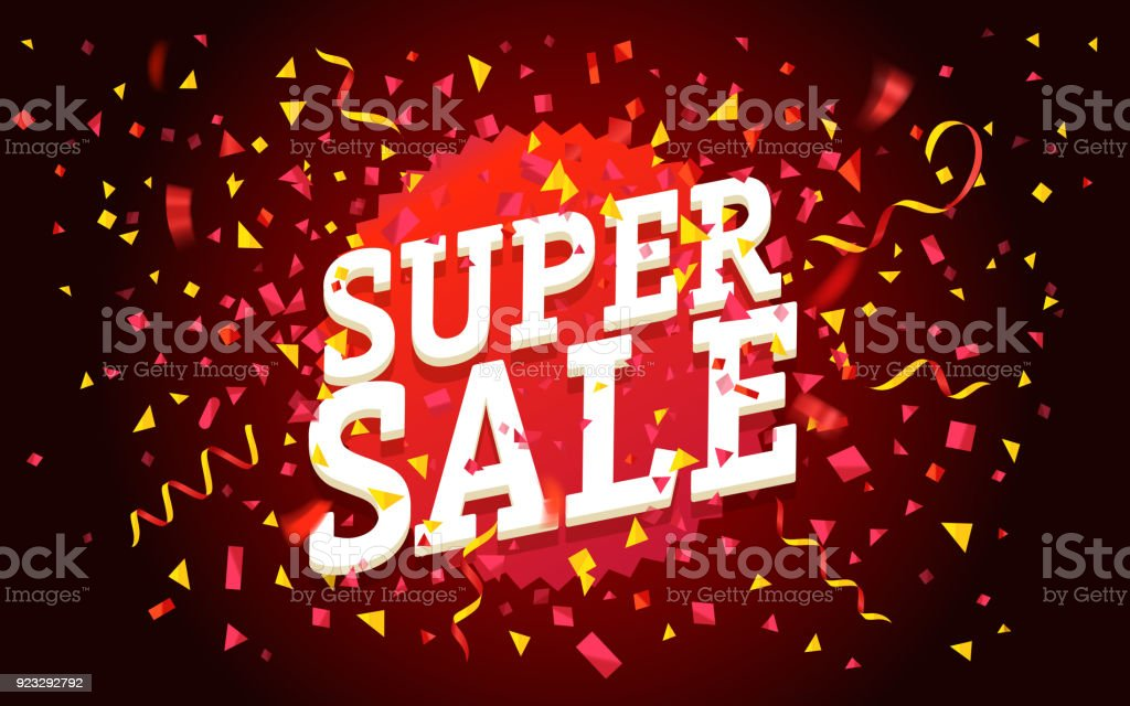 Super sale vector concept. Sale banner with color confetti vector art illustration