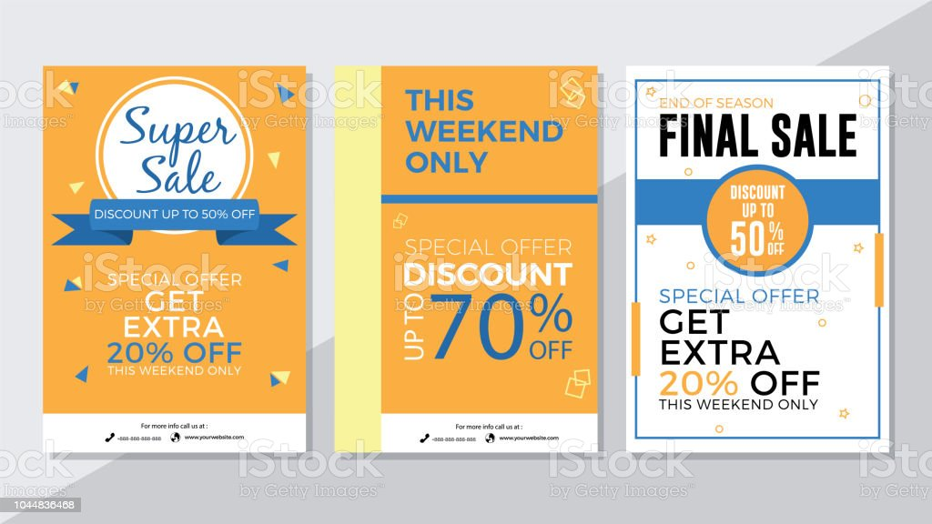 super sale weekend sale and final sale flyer template stock vector