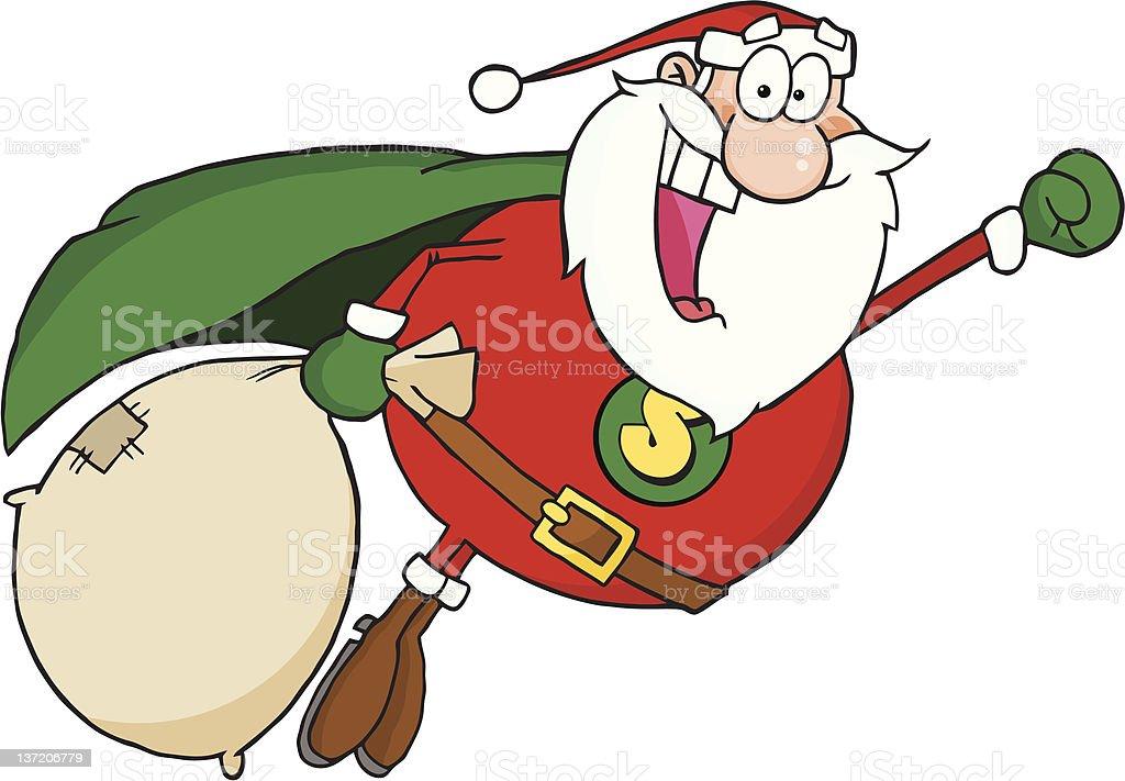 Super Santa Claus Fly royalty-free stock vector art