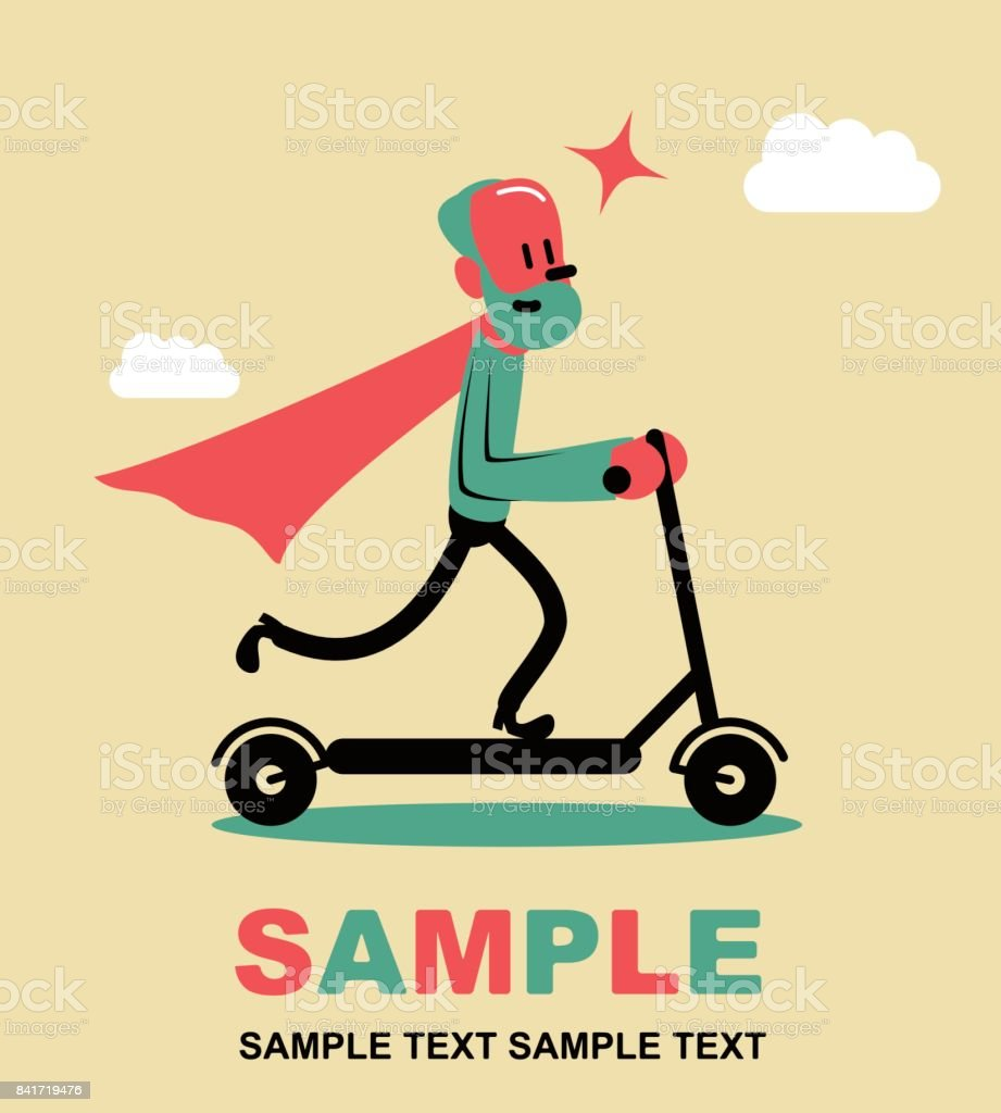 Super senior man wearing a red cape, riding a push scooter (kick scooter). Stay young at heart, side view vector art illustration