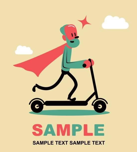 赤いマントを身に着けている、プッシュ スクーター (キック スクーター) に乗って超年配の男性。若い心、側面ビューに滞在します。 - 通勤点のイラスト素材/クリップアート素材/マンガ素材/アイコン素材