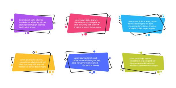 illustrazioni stock, clip art, cartoni animati e icone di tendenza di super set di banner piatti geometrici di forma diversa. forme astratte moderne per virgolette e testo. illustrazione vettoriale in stile piatto moderna - titolo mondiale