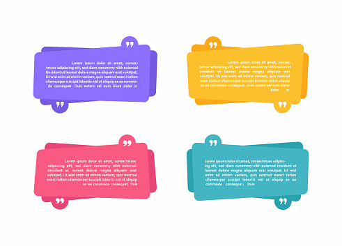 Super set different shape geometric texting boxes. Colored abstract shapes for quote and text. Modern flat style vector illustration