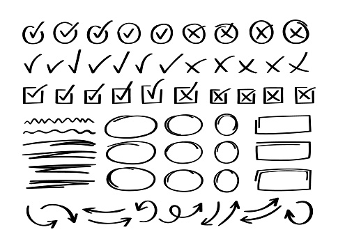 Super set hand drawn check mark with different circle arrows and underlines. Doodle v checklist marks icon set. Vector illustration