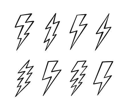 Super Set hand drawn Lightning bolt. Thunderbolt, lightning strike. Modern flat style vector illustration