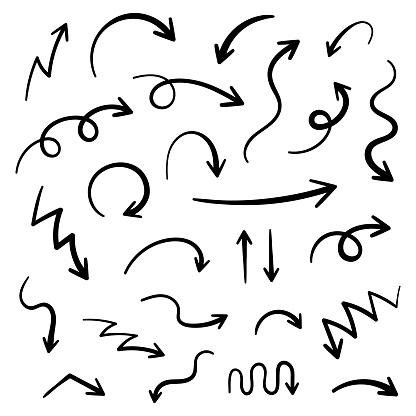 Super set hand-drawn arrows, vector graphic design