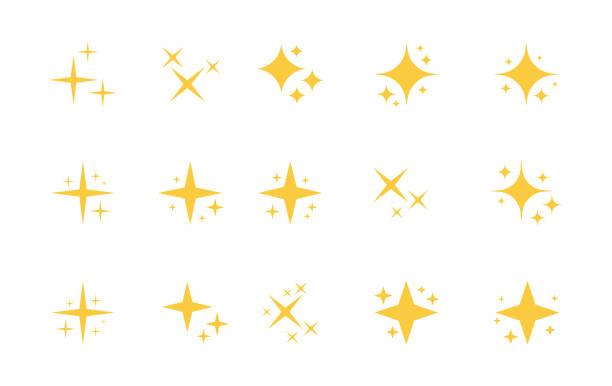 super zestaw gwiazd blask ikony. jasne fajerwerki, dekoracja migotanie, błyszczący błysk. świecące światło efekt gwiazdy i wybuchy kolekcji. projekt graficzny wektorowy - migoczący stock illustrations