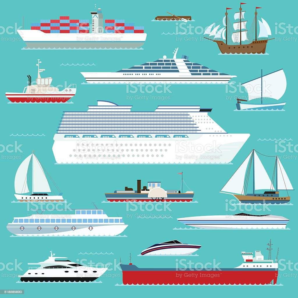 Super set of water ships carriage maritime boat, vessel, warship vector art illustration
