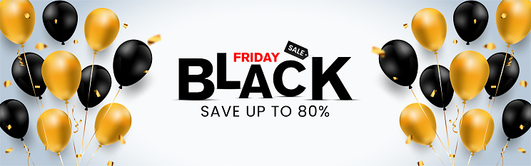 Super simple & luxurious Black Friday banner save up to 80% off (can be replaced with any value) with golden & black balloon, confetti, discounted shopping bag, landscape banner for Unique selling ads