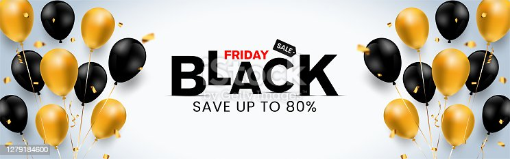 istock Super simple & luxurious Black Friday banner save up to 80% off (can be replaced with any value) with golden & black balloon, confetti, discounted shopping bag, landscape banner for Unique selling ads 1279184600