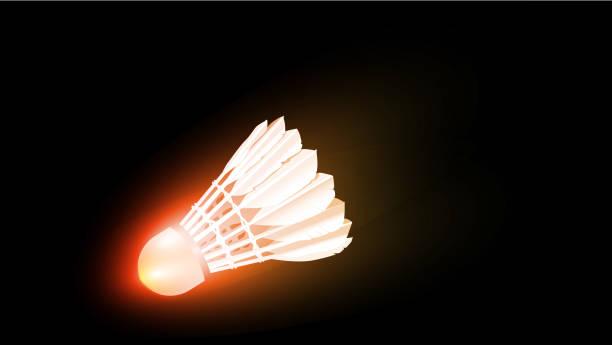 super speed smash glowing and brning shutlecock - badminton smash stock illustrations