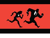 A silhouette illustration of a spies couple running. Easy to edit. Wide copy space available