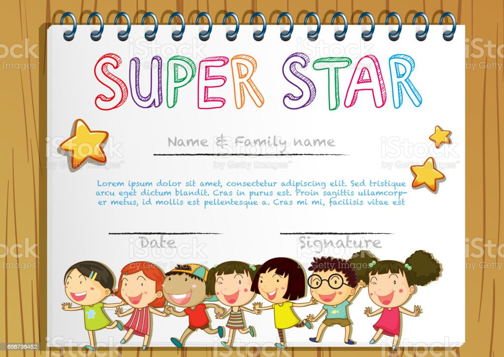 super star award template with children in background stock vector