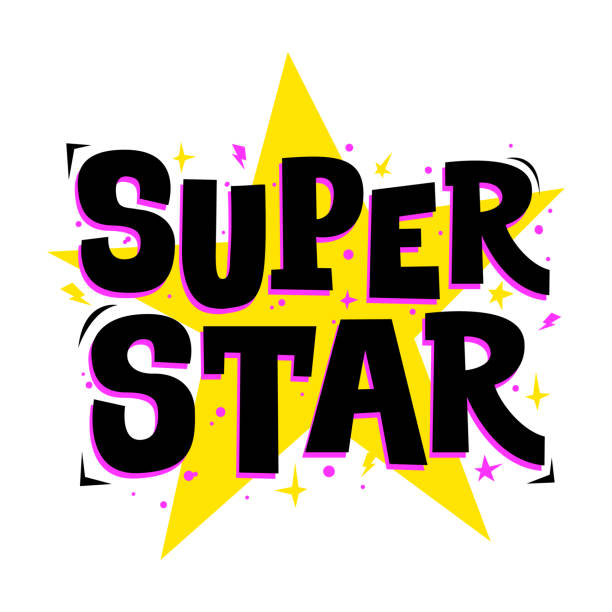 Super star. Vector typography for print design. Super star. Vector typography for print design. Cute slogan for party posters, clothing, card, stickers. fame stock illustrations