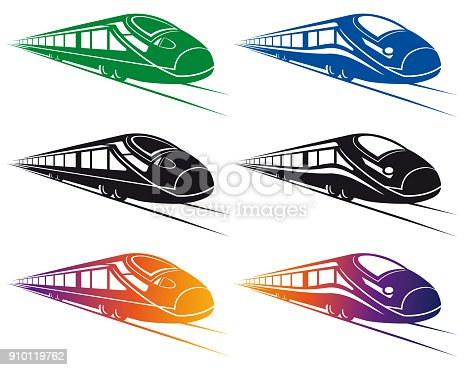 Vector Illustration with a dynamic fasting Set Super Streamlined Train Design