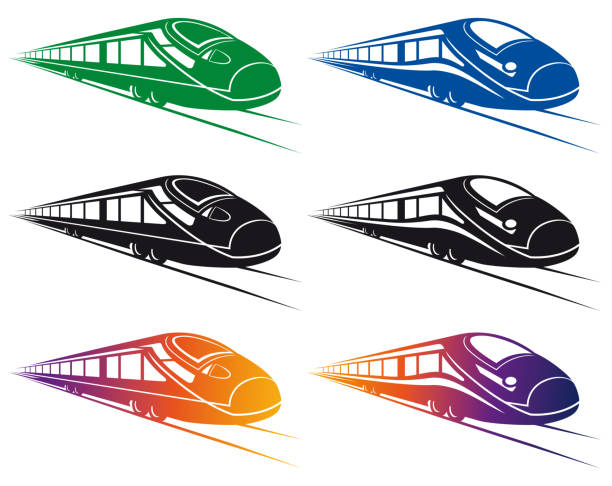 Super Streamlined Train Clip Art Vector Illustration with a dynamic fasting Set Super Streamlined Train Design bullet train stock illustrations