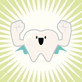 Vector illustration – Super Strong Tooth Character.