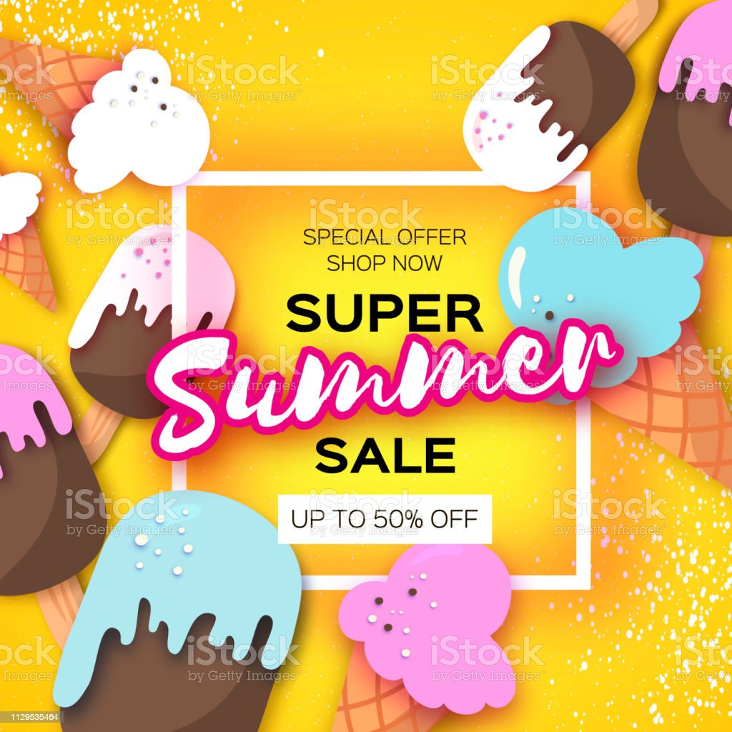 Super Summer Sale With Icecream Cones In Paper Cut Style