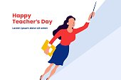 Super teacher flying vector illustration for happy teacher's day background poster concept with modern simple flat style graphic design