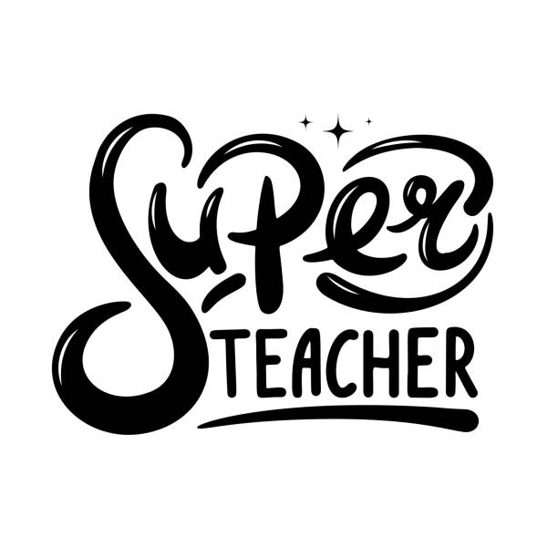 Super teacher hand lettering quote. Happy teachers day vector Super teacher hand lettering quote. Happy teachers day vector for greeting card, gift, craft or school design. thank you teacher stock illustrations