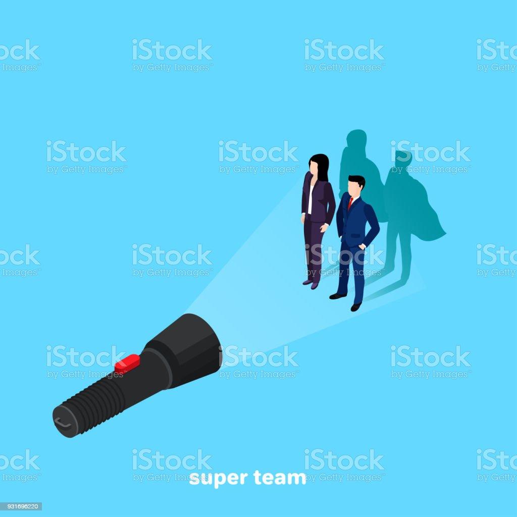 super team vector art illustration