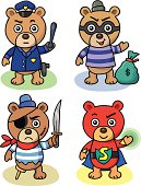 Illustration of four cartoon teddy bears, featuring a cop, a burglar, a pirate and a super hero.