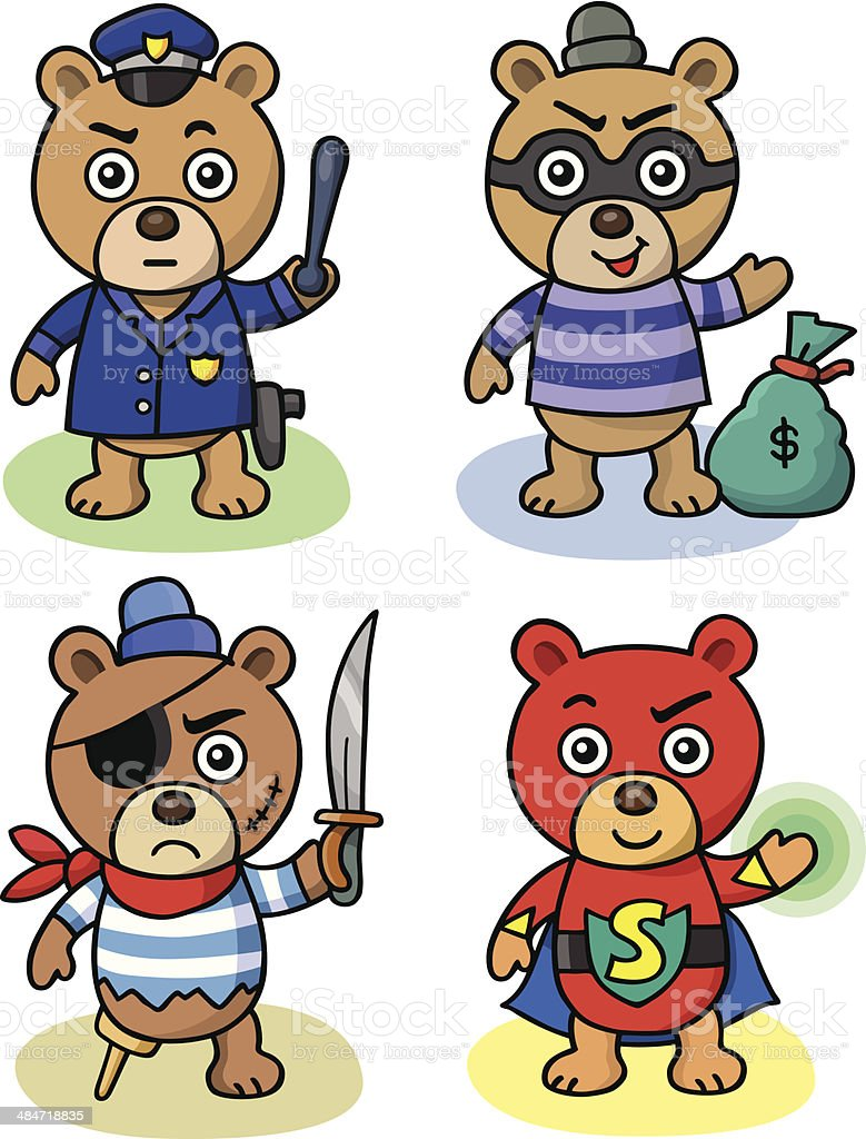 Super Teddy and Friends vector art illustration