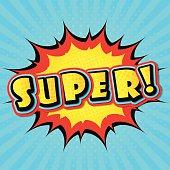 Super. Vector mock-up of comic book page, explosion. Pop art
