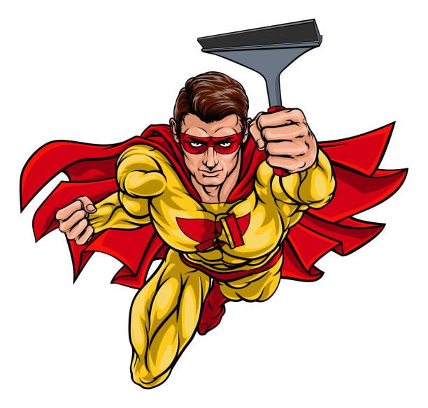 illustrations, cliparts, dessins animés et icônes de super window cleaner superhero holding squeegee - raclette