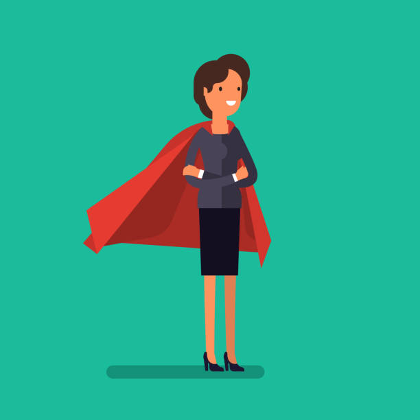 super woman. business concept illustration. - chefin stock-grafiken, -clipart, -cartoons und -symbole
