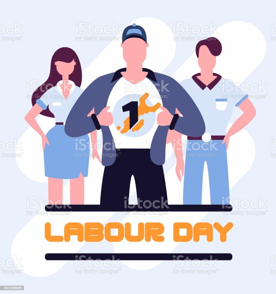 Cartel del día del trabajo de trabajadores Super - ilustración de arte vectorial