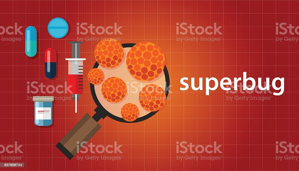 superbug strain of bacteria that has become resistant to antibiotic vector art illustration