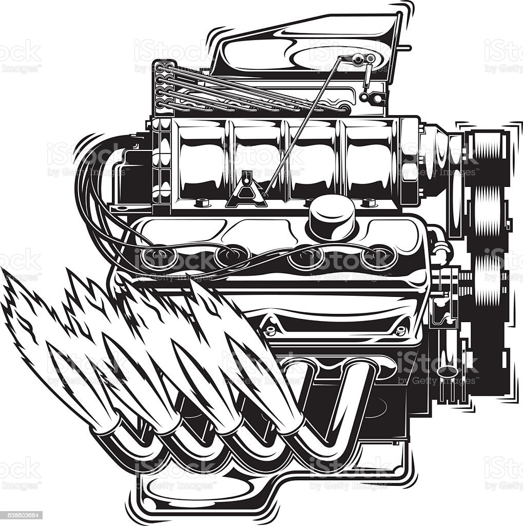 Supercharged Engine Running Stock Vector Art & More Images