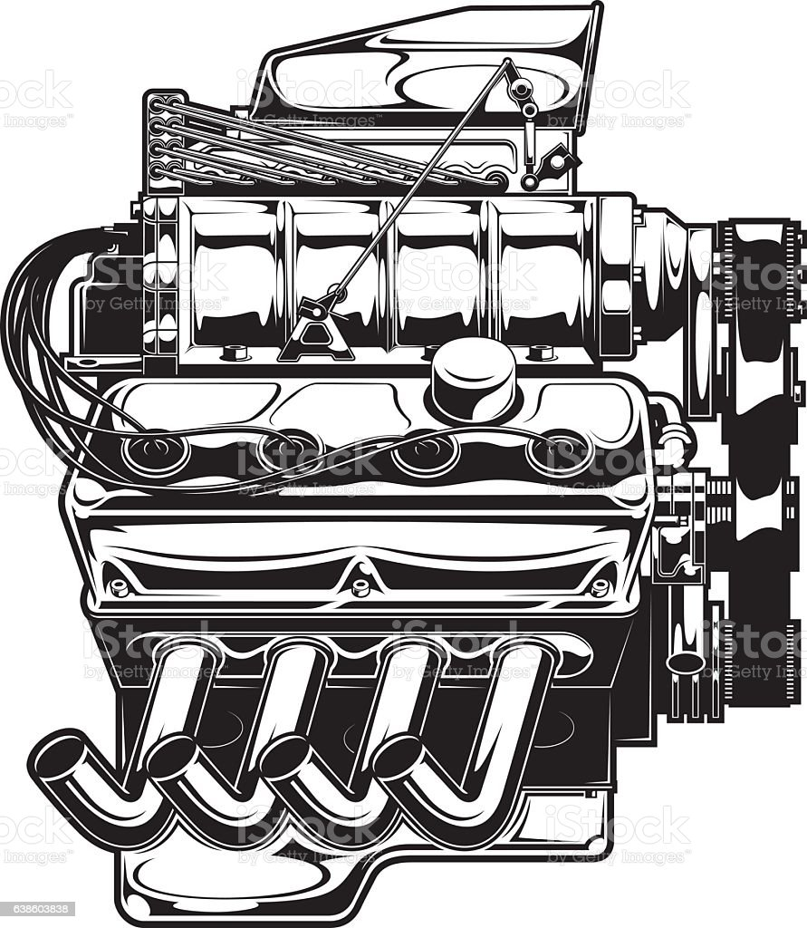 Supercharged Engine Stock Vector Art & More Images of Car 638603838 ...