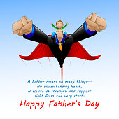 vector illustration of Superdad flying with son