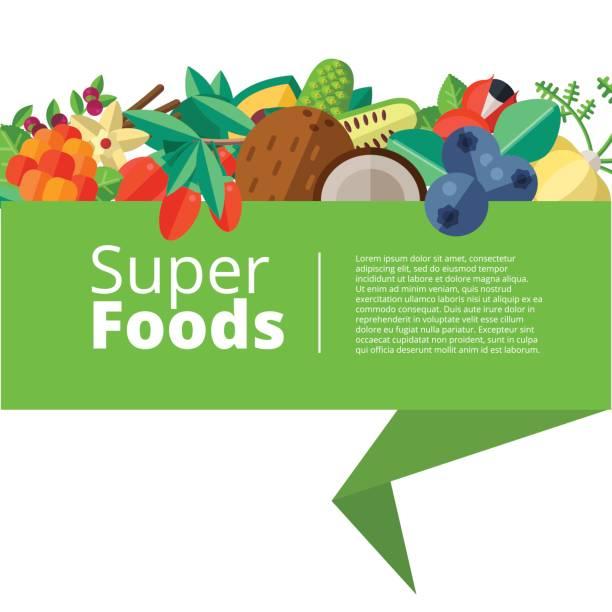 illustrations, cliparts, dessins animés et icônes de fond de super avec fruits, légumes, fruits, noix et - antioxydant