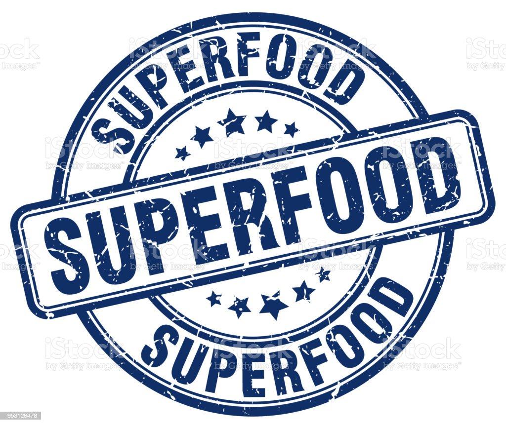 Superfood Blue Grunge Round Vintage Rubber Stamp Royalty Free